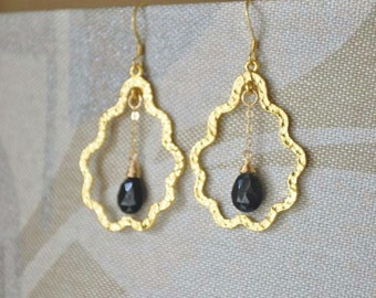 Gold Tear Drop Shaped Dangle Earrings with Black Spinel Gemstones - Gold Earrings, Long Earrings, Gemstone Earrings, Black Spinel Earrings