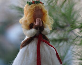 Needle felted  Waldorf Santa Lucia Christmas Tree Topper/ soft sculpture/needle felt by Daria Lvovsky Made to order