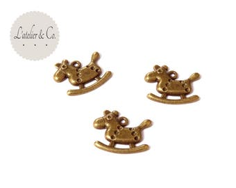 20 charms 16x13mm brass rocking horse / animal-40