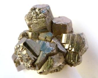 Vintage Pyrite Crystal Cluster Adjustable Dress Ring