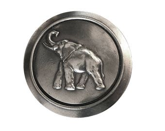 Vintage Round Elephant Belt buckle - African Asian Indian - Cute - Calf - Thailand - Tusk - Animal - Save the -  Sale