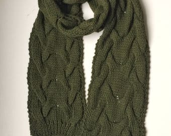 Dark Green Scarf Knitted Scarf Green Cable Knit Scarf Men's Knit Scarf Winter Scarves Husband Gift For Dad Braided Scarves Norwegian Knits
