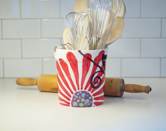 Utensil Canister Kitchen Utensil Holder Urban Fusion Large Utensil Holder Pottery Crock Boho Decor Chef Gift for Baker Gift for Couple UF