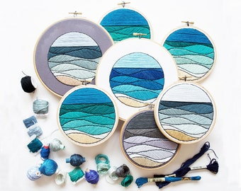Out of Retirement! - June Seascape Embroidery Pattern PDF by Sarah K. Benning - #skbdiy