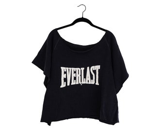 Vintage EVERLAST Classic Oversize Boxing 50/50 Cropped Sweatshirt Work Out Top, Made in USA