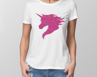 Ladies fit t-shirt with pink glitter unicorn. Amazing!