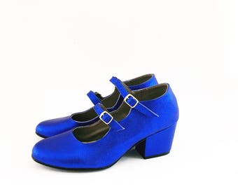 Molly Faux Leather Double Strap Heels Mary Janes (Handmade to order)