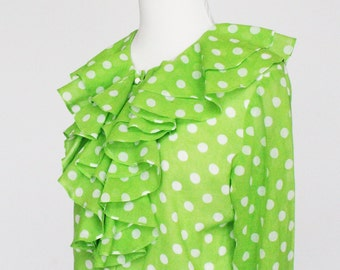 60's  Mod Blouse with Ruffle / Polka Dots / Ruffle Front Blouse / Greenery / Bright Green / Small