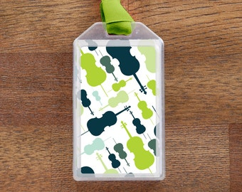 Cello Musical Instrument Case ID Luggage Tag - green and blue