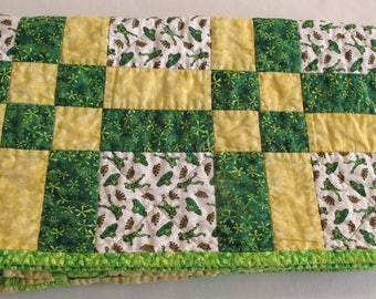 Frog Lap Baby Quilt Wallhanging Throw Yellow Green Shabby Cottage Chic