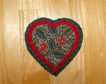 Hand made Liberty Print Heart Brooch/Liberty Print Heart Badge/Liberty Print Heart Pin/Floral heart/Leafy Heart