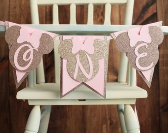 Minnie Mouse pink and gold High Chair Banner,  I am 1,  Happy Birthday Highchair Banner Champagne gold, ONE Banner