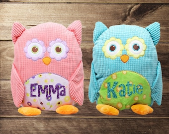 Personalized Owl, Plush Owl, Springtime, Pink, Blue