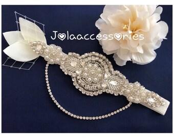 Ivory crystal pearl garter chain garter art deco garter wedding garter bride bridal garter rhinestone garter something blue blush garter