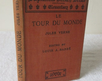 French Vintage Books, circa 1930, Jules Verne, Le Tour du Monde, Siepmann's French Series Elementary, Perfect for Learning French!!