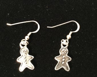 Christmas gingerbread man pewter earrings