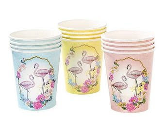 Truly Flamingo Paper Cups, Tropical Theme, Tableware, Party Decorations, Supplies, Talking Table