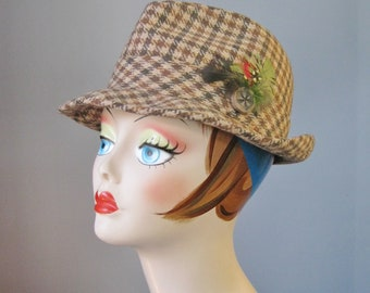 Mens Fedora / Vtg 50s / Brown Plaid Wool Mens Fedora / Size 7