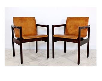 Mid Century Modern Pair of Brazilian Rosewood Chairs Michel Arnoult Style 1960's