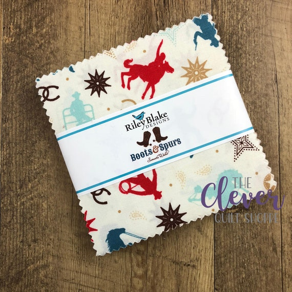 Charm Pack Squares, Riley Blake Designs, Boots and Spurs, Blue, Boy, Cowboy, Cowgirl, Boots, Western, Floral, Stars, Horseshoe, Horse, Brown