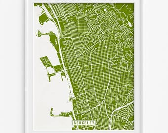 Berkeley Print, Berkeley Map, California Poster, California Print, Berkeley Poster, California Map, Street Map, Fathers Day