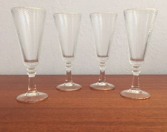Mid-Century Glass Wine/Champagne Flutes - Set of 4