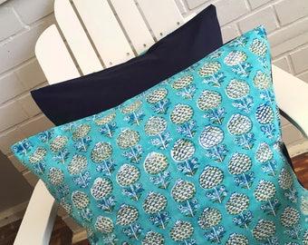 Aqua Floral & Navy Block Printed Cotton Cushion Cover
