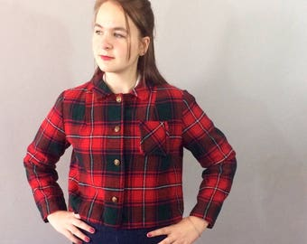Mod Tami Sophisticates Red Plaid Cropped Jacket