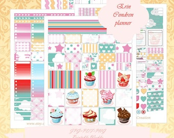 Printable Erin Condren Horizontal planner Weekly kit/ Instant Download / Weekly/ With Cut Files / Cake