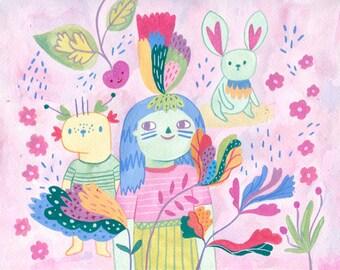 Quirky friends print, GICLÉE PRINT, Nursery decor, Animal art, Nursery wall art, Kids art, Nursery art, Nursery decor, Gouache painting.