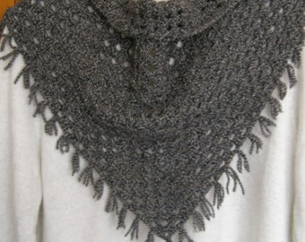 Handmade Crochet triangle winter scarf,Gray,