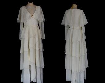 Original Vintage 1970s Ivory Chiffon Tiered Maxi Dress  - Small - FREE SHIPPING WORLDWIDE
