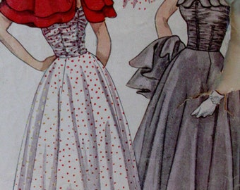 Vintage 1950's Simplicity Pattern 3123  Junior Misses Prom Dress  Formal Evening Gown & Cape - Size 16, Bust 34