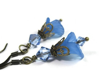 Blue Flower Earrings, Floral Jewelry, Pantone Niagara, Swarovski Crystal, Gifts for Gardeners, Affordable Jewelry, Gifts of Love for Mom