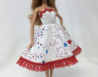 """Fireworks Dress-11.5"""" Doll Clothes-Holiday Dress-Fashion Doll Dress-Fourth of July Dress-Red, White & Blue Dress-Handmade Doll Clothes-Toys"""