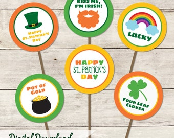 St. Patrick's Day Cupcake Toppers/Tags Printable