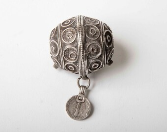 Large ANTIQUE Berber egg bead or Tagemout bead with 1935 silver dime!