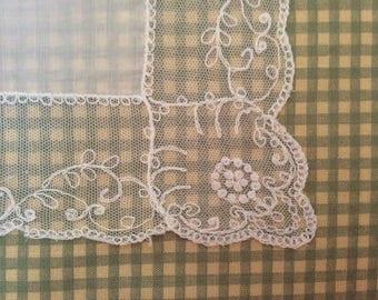 Lace handkerchief, vintage handkerchief, tambour lace, vintage lace, bridal handkerchief, white hankie