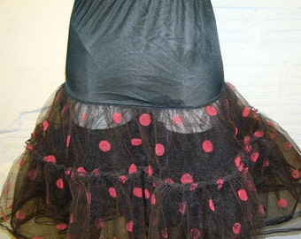 Polka Dot Crinoline Vintage Super Rare Black and Red Petticoat