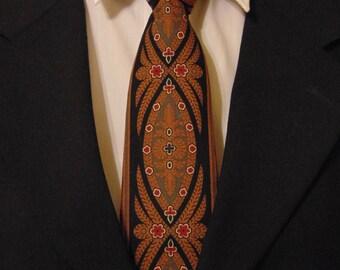Brown Necktie, Black Necktie, Mens Necktie, Mens Tie, Chocolate Necktie, Chocolate Tie, Medallion Necktie, Medallion Tie, Gift, Contemporary