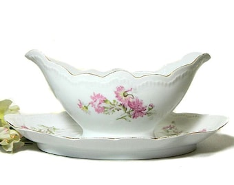 Antique Royal Austrian Gravy Boat and Underplate Garden Pinks Carnations