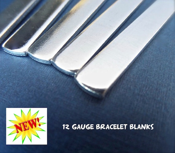 "100 Blanks 12G 1/2"" x 5-1/2"" Polished Cuff Blanks - Very Thick Pure 1100 Aluminum Bracelet Blanks - Flat - Made in USA"
