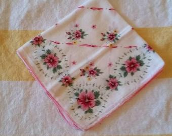 Delicate Pink floral vintage handkerchief