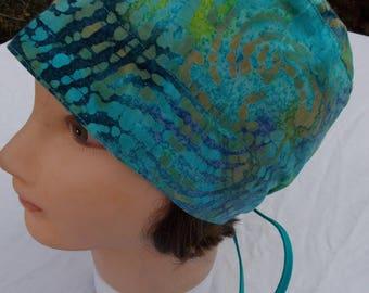 BATIK SCRUB Turquoise Cap Cotton WOMENs or Mens Hat Blues and Greens