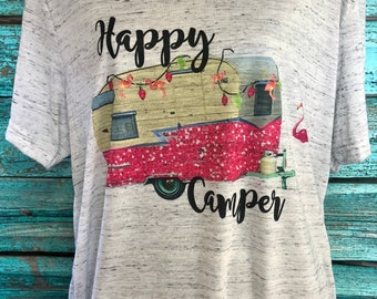 Happy Camper Camping Soft T Shirt