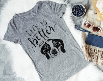 Dog Mom Women's Dog Tshirt - Gray Womans Tee - Life is Better with a dog