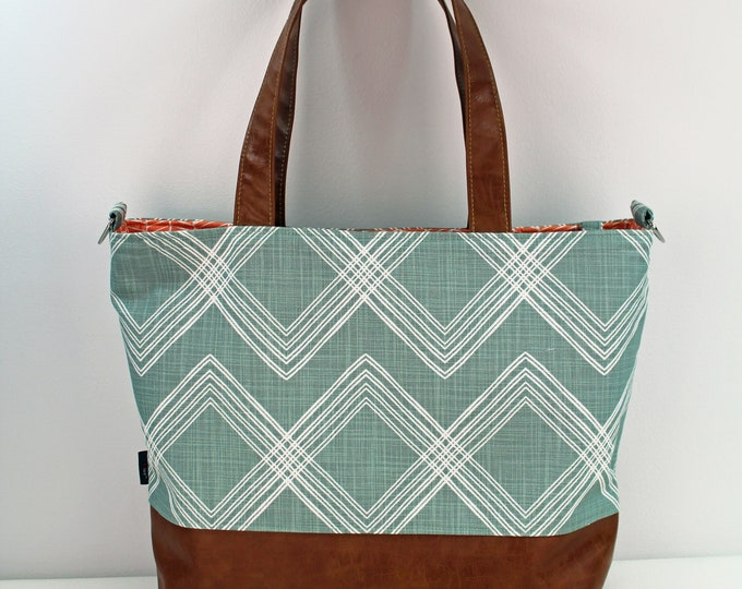 Extra Large Lulu Tote Overnight  Diaper Bag Colton Ocean and PU Leather - READY to SHIP
