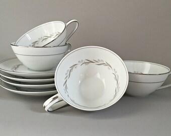 4 Formal White Porcelain Tea Cups Teacups Mid Century White China Teacups Tea Cups Noritake Almont Silver / Platinum Trim