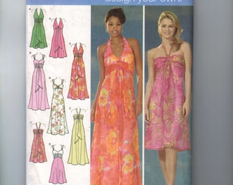 Misses Sewing Pattern Simplicity 4577 Misses Halter Neck High Waist Sundress Summer Maxi Evening Gown Size 4 6 8 10  UNCUT