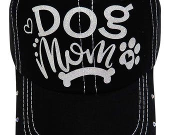 "NEW! White Glitter ""Dog Mom"" Paw Print Black (Torn Bill) Baseball Cap Hat w/Rhinestones"